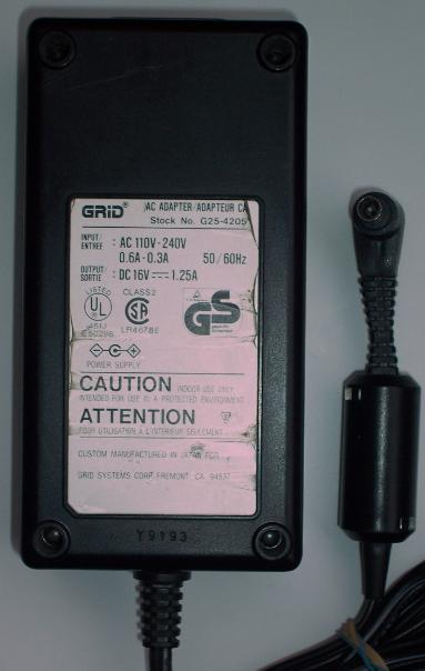 GRID G25-4205 AC DC ADAPTER 16V 1.25A POWER SUPPLY