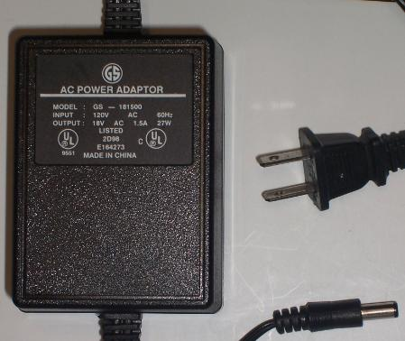 GS GS-181500 AC ADAPTER 18Vac 1.5A 2.5x5.5mm ~(~)~ Used Desk top