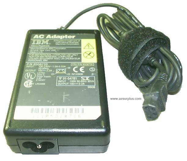 IBM 85G6733 AC ADAPTER 16VDC 2.2A 4 PIN POWER SUPPLY LAPTOP 704