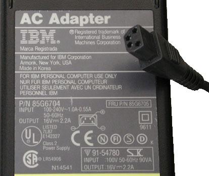 IBM 85G6704 AC ADAPTER 16V DC 2.2A POWER SUPPLY 4Pin 85G6705 for