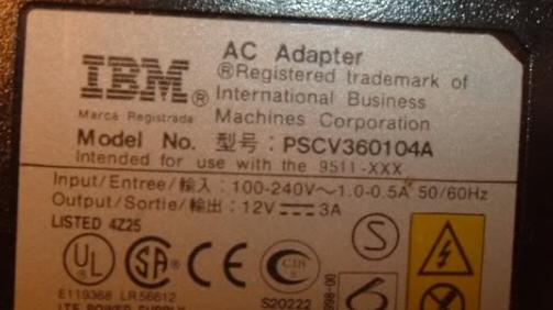 IBM PSCV360104A AC ADAPTER 12VDC 3A POWER SUPPLY