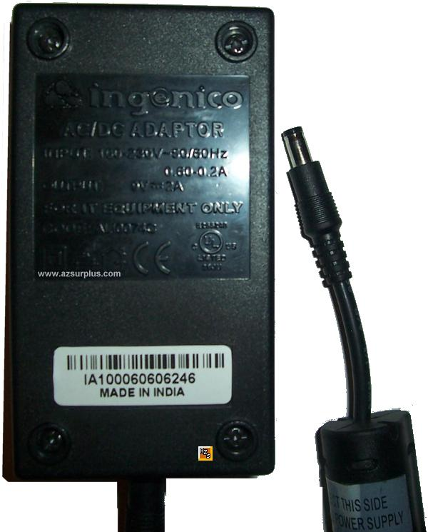 INGENICO AC ADAPTER 9VDC 2A 812 Credit Card Terminal power suppl