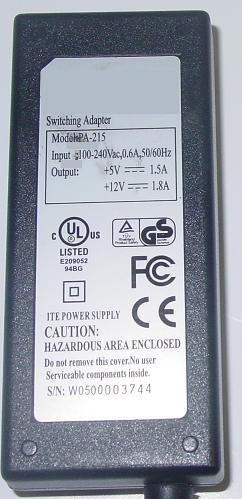 ITE PA-215 Switching AC Adapter 5VDC 1.5A 12V 1.8A 5 PINS Dual V
