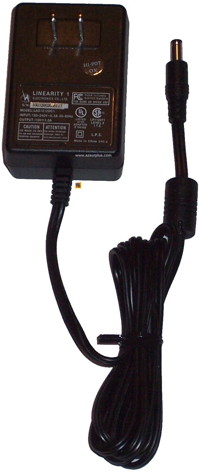 LINEARITY 1 LAD1512DC1 AC ADAPTER 15VDC 1A -(+)- 2.5x5.5mm New P