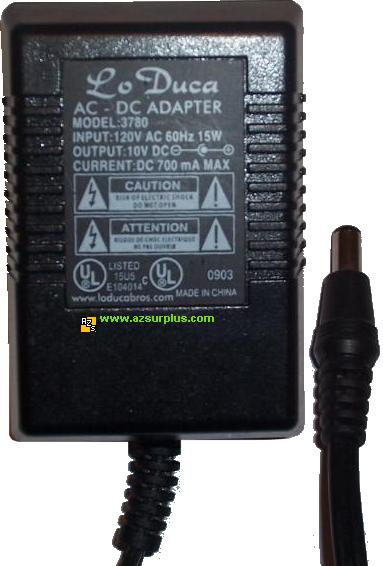 LO DUCA 3780 AC ADAPTER 10VDC 700mA POWER SUPPLY