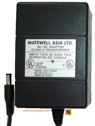 MATEWELL ASIA 48-9-1000D AC DC ADAPTER 9V 1A POWER SUPPLY