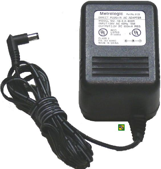 Metrologic 48-5.2-650R Ac Adapter 5.2VDC 650mA +(-) 2x5.5mm 6123