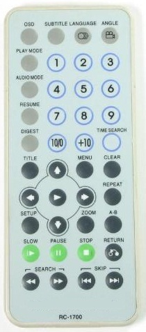 MINTEK RC-1700 40 BUTTON INFRARED REMOTE CONTROL 3VDC CR2025