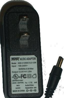 MOSO XKD-C12501C12.0-12W AC DC ADAPTER 12V 1.25A POWER SUPPLY