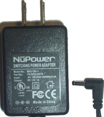 NUPOWER MKU15G-3 AC DC ADAPTER 12V 1A POWER SUPPLY