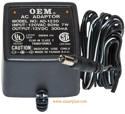 OEM AD-1230 AC ADAPTER 12VDC 300mA -(+)- 2.5x5.5mm Linear Power
