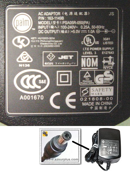 PHIHONG PSA05R-050 AC ADAPTER 5V 1A SWITCHING SUPPLY