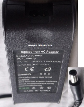 AD-90195D REPLACEMENT AC ADAPTER 19.5V DC 4.62A POWER SUPPLY