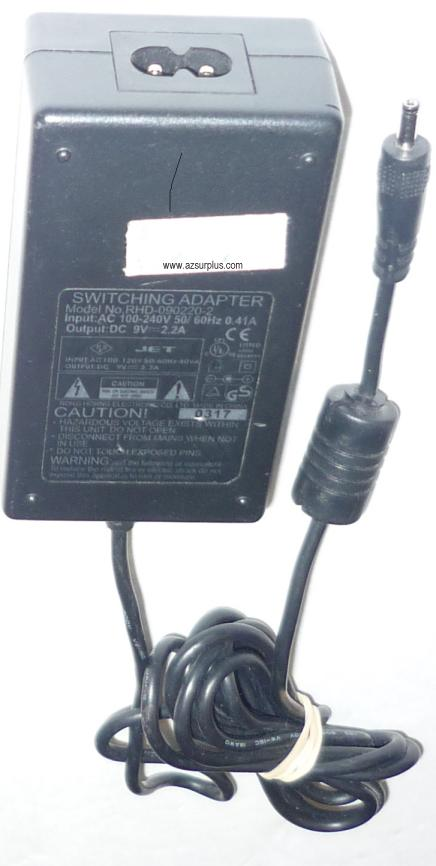 RHD-090220-2 SWITCHING AC ADAPTER 9VDC 2.2A POWER SUPPLY