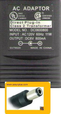 SA DC0600800 AC ADAPTER DC6V 800mA DIRECT PLUG IN CLASS 2 TRANS