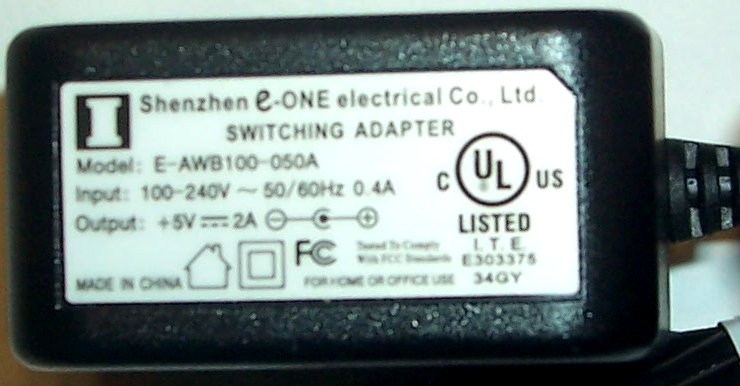SHENZHEN E-ONE E-AWB100-050A AC ADAPTER 5VDC 2A ITE SWITCHING PO