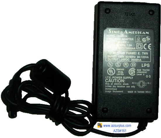 SINO AMERICAN SA60-24 SWITCHING ADAPTER 24VDC 2.5A 4 PIN DIN CON