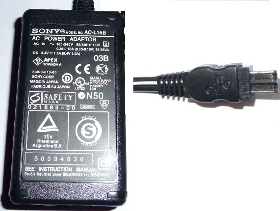 SONY AC-L15B AC DC ADAPTER 8.4V 1.5A POWER SUPPLY FOR CAMCORDER