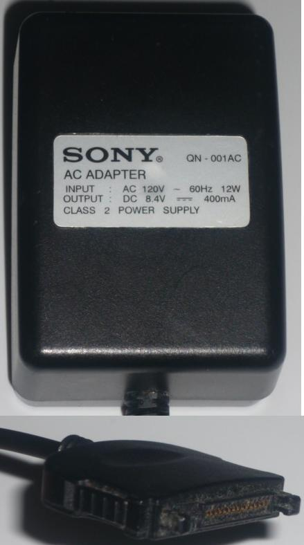 SONY QN-001AC AC ADAPTER 8.4VDC 400MA POWER SUPPLY
