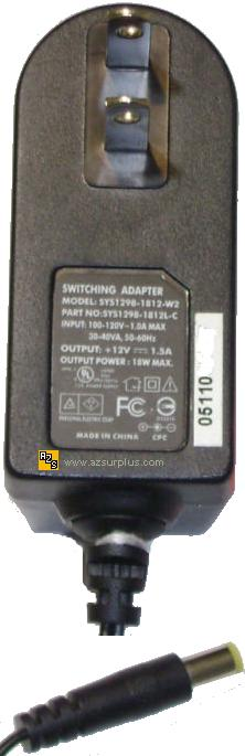 SUNNY SYS1298-1812-W2 AC DC ADAPTER 12V 1.5A 18W 1.7mm POWER SUP
