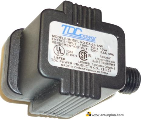 TDC POWER DA-06-12W AC ADAPTER 12VAC 0.5A 2Pin POWER SUPPLY