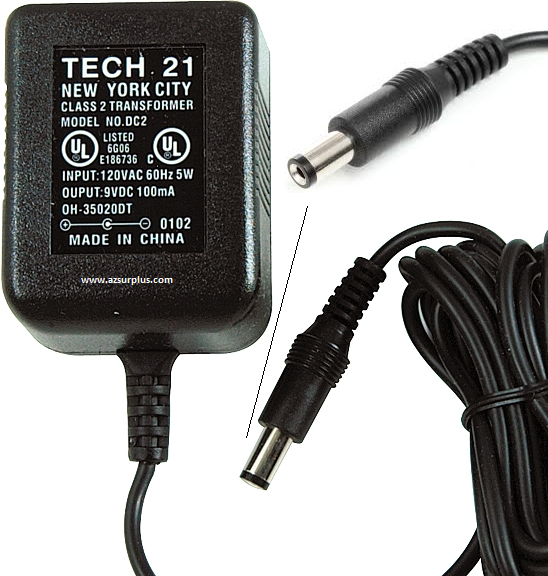 Tech.21 DC2 AC ADAPTER 9Vdc 100mA +(-) 2x5.5mm 120vac POWER SUPP