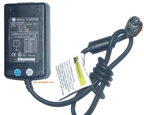 TELKOOR LSE9910A03 AC ADAPTER 8 PIN DIN 3.3V 2A POWER SUPPLY
