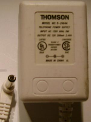 THOMSON 5-246A DC 12V 200mA 5W AC ADAPTER TELEPHONE POWER SUPPLY
