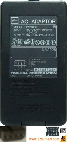 TOSHIBA PA2400U AC ADAPTER 18V 1.1A NOTEBOOK Laptop Power Supply