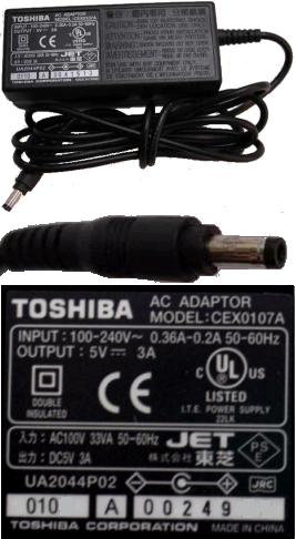 TOSHIBA CEX0107A AC ADAPTER 5Vdc 3A -(+)- 1.7x4mm POWER SUPPLY 0