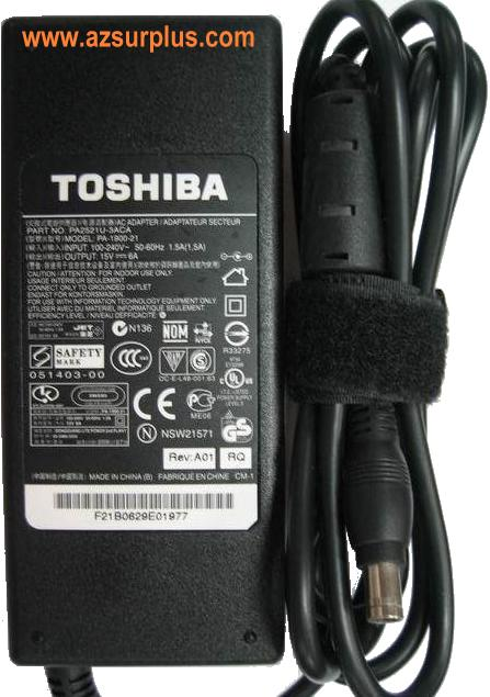 TOSHIBA PA2521U-3ACA AC ADAPTER 15VDC 6A LAPTOP POWER SUPPLY