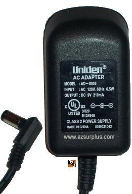 UNIDEN AD-0005 AC ADAPTER 9VDC 210mA POWER SUPPLY CLASS 2