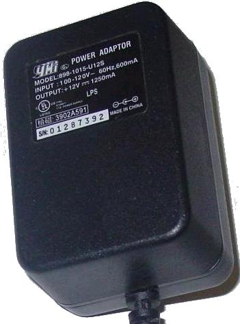 YHi 898-1015-U12S AC Adapter 12VDC 1250mA -(+) 2x5.5mm 120vac IT