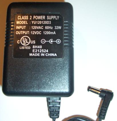 YU120120D3 AC ADAPTER 12VDC 1200mA -(+)- POWER SUPPLY